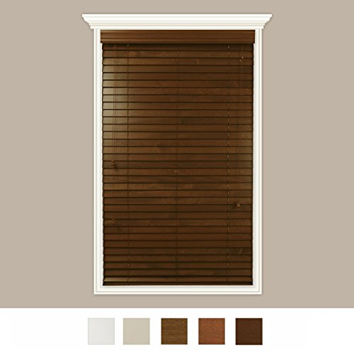 Luxr Blinds Custom-Made Real Wood Horizontal Window Blinds With Easy Inside Mount - 64