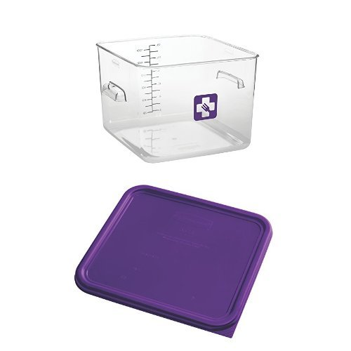 Rubbermaid Commercial Square Plastic Food Storage Container, Purple, 12 Quart, with Lid by
