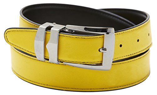 Silver Tone Buckle (Reversible Belt Bonded Leather Removable Silver-Tone Buckle YELLOW / Black)