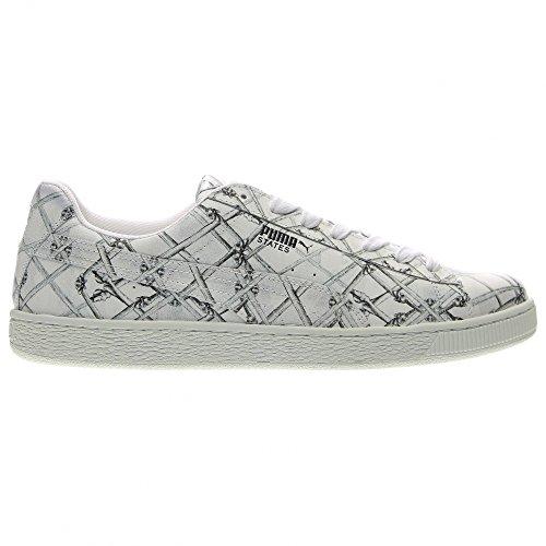 Puma States X Swash Bones Hombres Zapatillas Redondas De Cuero Blancas Glacier Grey