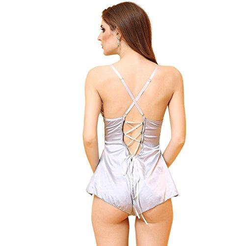 Lencería Sheer Scalloped Satinado Chemise Slip Sleepwear Camisón, Deep-V Babydoll ropa interior ropa de dormir , L M