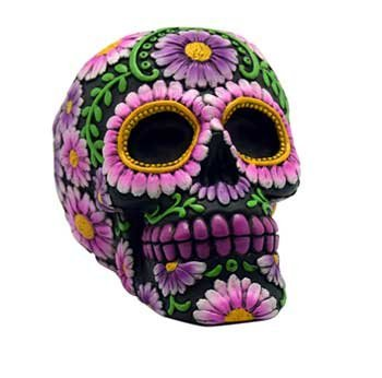 Pink Flower Bank (AzureGreen Toy Banks Coin Money Container Day of The Dead Pink Flowers Grinning Skull Hand Painted)