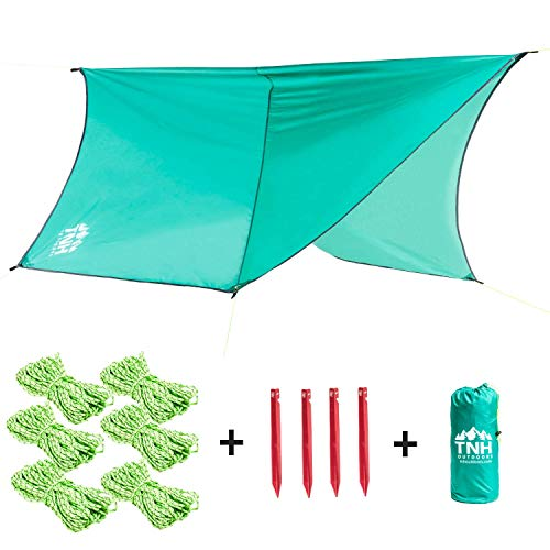 TNH Outdoors Hexagon Waterproof Rain Fly Tent Tarp with Stakes Included - Easy Set Up Portable Hammock Tarp Shelter - Made of Quality Lightweight Waterproof Tent Polyester