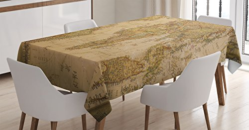 Ambesonne Wanderlust Decor Tablecloth, Anthique Old World Map in Retro Color with Vintage Nostalgic Design Art Print Deco, Rectangular Table Cover for Dining Room Kitchen, 60x84 Inches, -