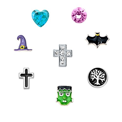 Q&Locket Mask Bat Cross Witch Hat Halloween Floating Charms Fit Memory Living Locket Pandent Bracelet]()