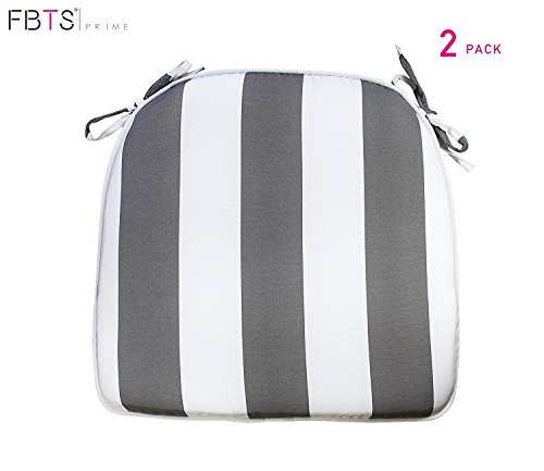 - FBTS Prime Outdoor Chair Cushions (Set of 2) 16x17 Inches Patio Seat Cushions Grey and White Stripe Square Chair Pads for Outdoor Patio Furniture Garden Home Office