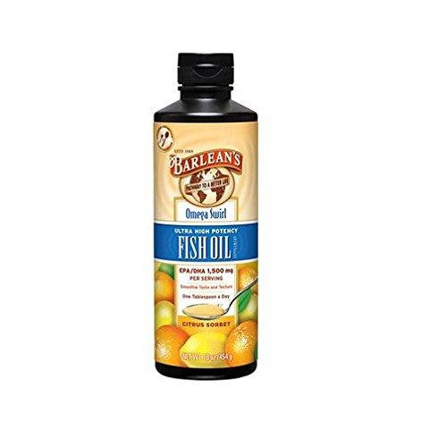 Barlean's Ultra High Potency Fish Omega Swirl, Citrus Sorbet, 16 (High In Omega)