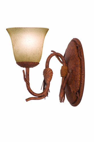 - Kalco 3041PD/1313 Bathroom Sconces with Gold-Streaked Amber Glass Shades, Ponderosa Brown Finish