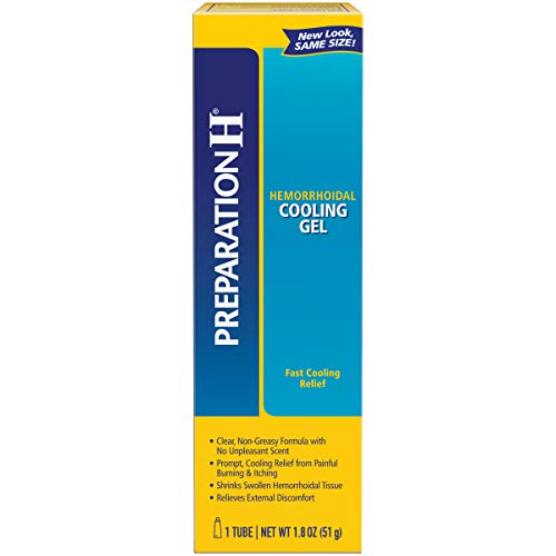 - Preparation H Hemorrhoid Symptom Treatment Cooling Gel, Fast Discomfort Relief with Vitamin E and Aloe, Tube (1.8 Ounce, 1 Tube per Box)