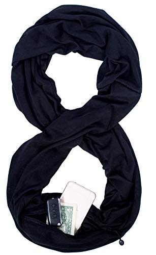 Infinity Scarf Wrap Snood Zip Pocket Convert Gym Travel Scarfs Nursing Pashmina from ecoinway