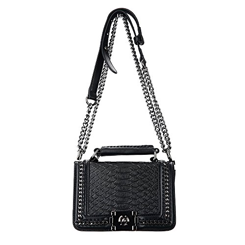 Black Quilted Leather Mini - Classic Black Mini Small Quilted Leather Bronze Chain Handbag Shoulder Bag Purse