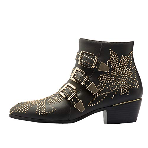 (Boots for Women,Women's Leather Boot Rivets Studded Shoes Metal Buckle Low Heels Ankle Studded Booties Black Gold 7 Size)