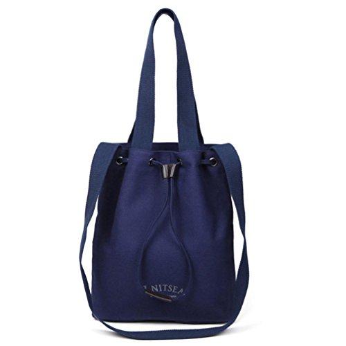 Grandes Lona de Mujer Bolsos de Bandolera Cordón Baratos Fossrn para Juveniles Hombro Azul Bolsos qt1fpw1dC