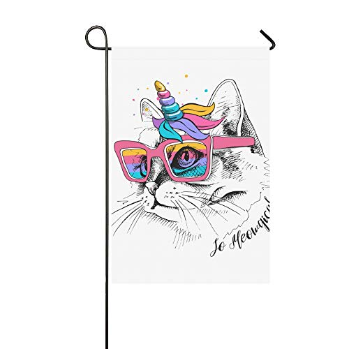 WIEDLKL Home Decorative Outdoor Double Sided Cute Cat Unicorn Mask Rainbow Glasses Garden Flag House Yard Flag Garden Yard Decorations Seasonal Welcome Outdoor Flag 12x18in Spring Summer Gift -