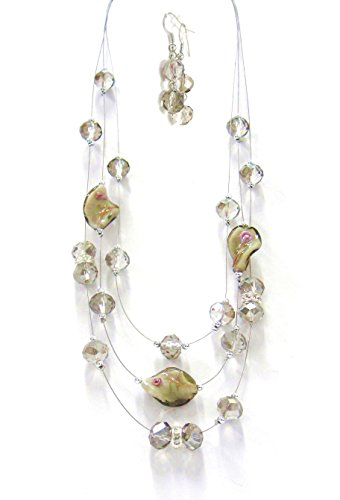 Linpeng Lampwork and Crystal Layer Beads Necklace, Smoky ()
