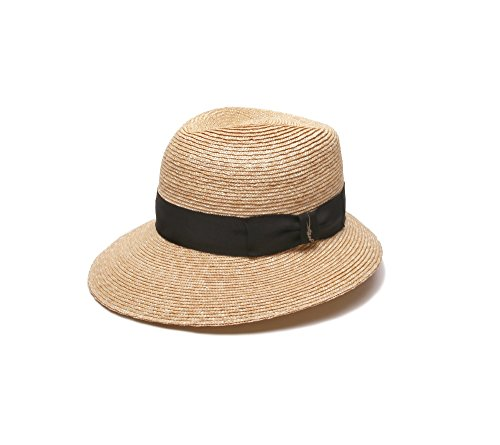 Gottex Women's Charley Fedora Sun Hat w/Asymmetrical Brim, Rated UPF 50+ For Max Sun Protection, Natural/Black, One Size by Gottex (Image #1)
