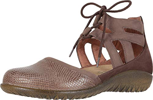 NAOT Footwear Women's Lace-up Kata Shoe Brown Lizard/Shiitake/Coffee 5 M US