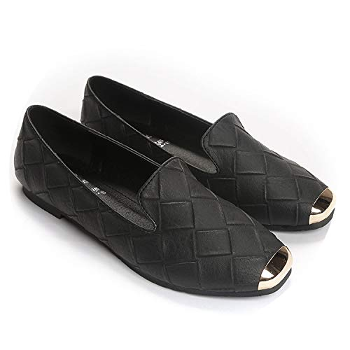 JIESENGTOO 2019 Women Fashion Flats Square Toe PU Leather Loafers Ballet Flats Boat Shallow Footwear 34-43,Black,5