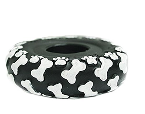 Boss Pet Vinyl Tire with Bone Tread Pattern and Squeaker Dog