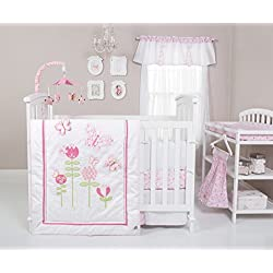 Trend Lab Floral Fun 6 Piece Crib Bedding Set, White/Pink