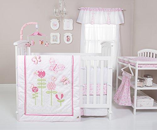 Trend Lab Floral Fun 6 Piece Crib Bedding Set, White/Pink by Trend Lab