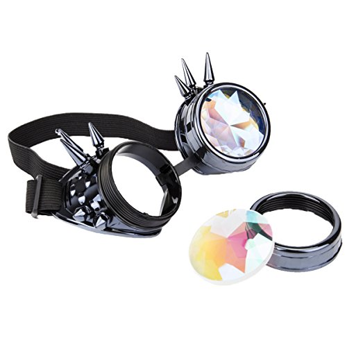 Kaleidoscope Rave Rainbow Crystal Lenses Steampunk Goggles Spike Halloween -
