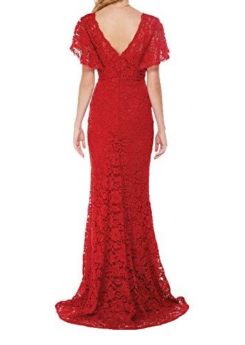 Brautmutterkleider Damen Abendkleider Rot Schnitt Partykleider Glamour Schmaler Figurbetont Festlichkleider Spitze Charmant Lang Dunkel wa1qI4dd