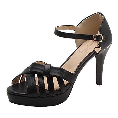 Carolbar Womens Buckle Peep Toe Bows Stilettos Bridal Dress Sandals Black xQvEUG