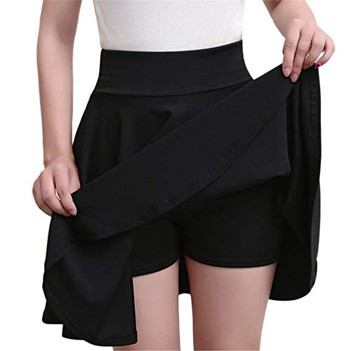 Thenxin Women's High Waist Skater Skirt Mini Pleated A-Line Casual Skirt Built in Shorts Plus Size(Black,XXL)
