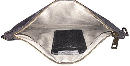 LAFINITY LT3133 Clutch Tasche Handtasche Damentasche Schlange Python-Optik Leder Dunkelgrau Grau Gold