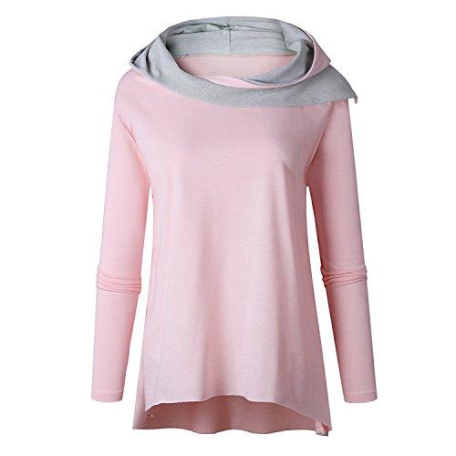 Otoño Camisas Casual Mujer Invierno Hoody Originales Pullover Encapuchado Con Rosa Capucha Tops Básicos Con De Blusas Deportivas Sudaderas Cuello Alto Irregular Sueter qraqHP7
