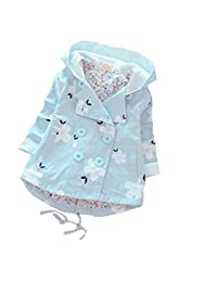 Baby Kid Little Girls Polka Flowers Printed Hoodie Wind Proof Jacket Coat Outerwear