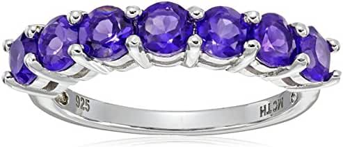 Gemstone Five Stone Ring in Sterling Silver (5mm)