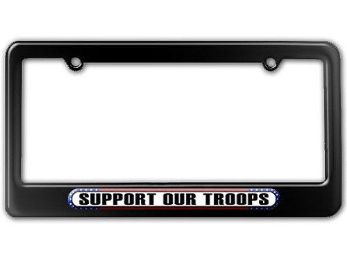 Support Our Troops License Plates - Graphics and More Support Our Troops - USA America Pride Flag License Plate Tag Frame - Color Gloss Black