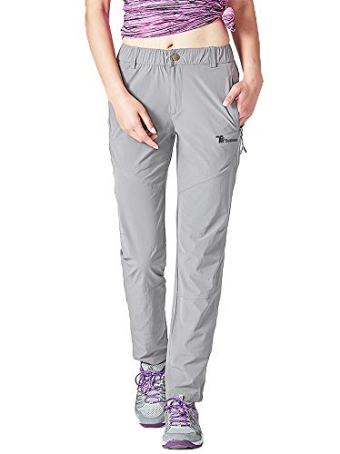 Rdruko Women's Lightweight Breathable Casual Hiking Pants Outdoor Sports Quick Dry Sweatpants(Grey, US XL)