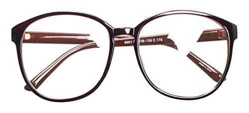 Oversized Big Round Horn Rimmed Eye Glasses Clear Lens Oval Frame Non Prescription (Brown ()
