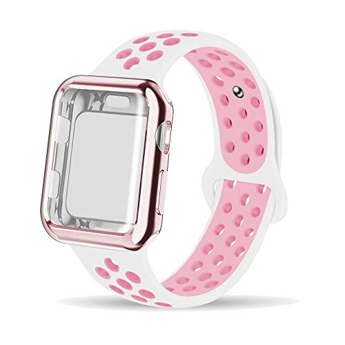 INTENY Compatible for Apple Watch Band 38mm with Case, Soft Silicone Sport Wristband with Apple Watch Screen Protector Compatible for iWatch Apple Watch Series 1,2,3,4, 38mm M/L, White Pink