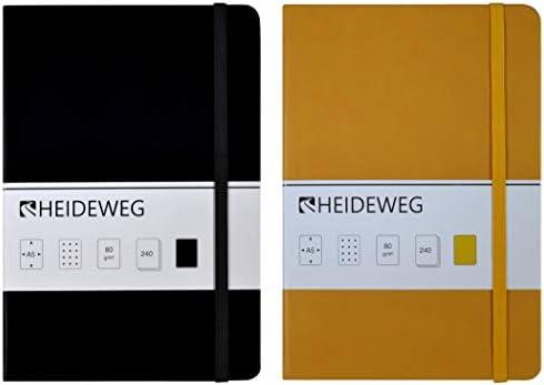 Heideweg Notizbücher A5 dotted, 240 Seiten, Hardcover, Doppelpack (2 gelb, 80 g/cm²)