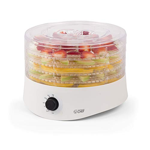 (Commercial Chef CCD100W6 Compact Dehydrator, Beef Jerky Maker, Food Preservation Device, 100 Watts, White)