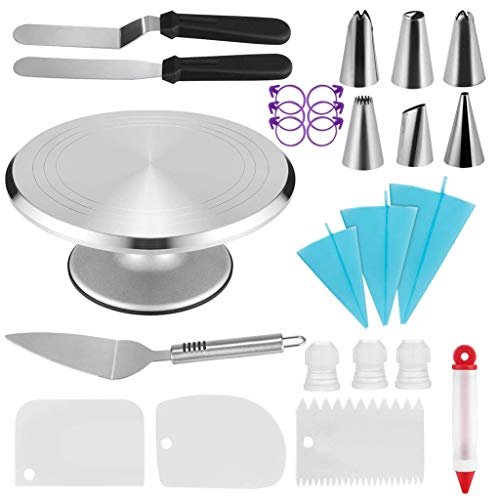Aluminium Cake Turntable Cake Decorating Supplies - 2 Icing Spatulas 3 Icing Smoother 3 Couplers Decorating Pen Cake Shovel 3 Pastry Bags