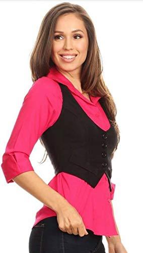 Fashion Secrets Juniors Racerback Waistcoat Black Vest (Small, Cropped Black)