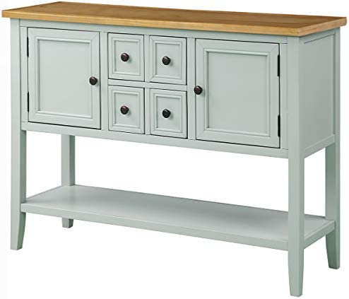 Console Table, Buffet Table Sideboard with Four Storage Drawers and Two Cabinets and Bottom Shelf, Lime White Ship from USA Warehouse