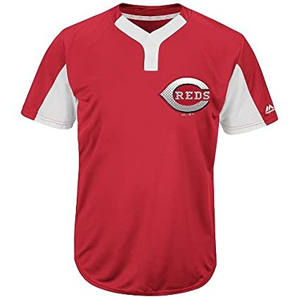 1498b04e3 Majestic Blank Back Adult 2XL Cincinnati Reds 2-Button Placket Cool-Base  MLB Licensed