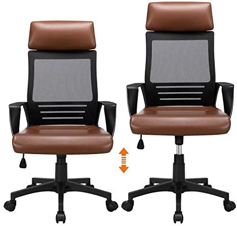 YAHEETECH Ergonomic Mesh Office Chair with Leather Seat, High Back Task Chair with Headrest, Rolling Caster for Meeting Room, Home Brown 41n6NcdCVYL