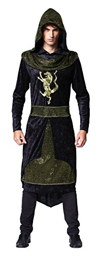 Black Men's Medieval Prince Hooded (Medieval Thief Costume)