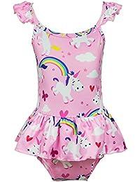 b88be1583c Girls Bathing Suits Rainbow Unicorn Swimsuits One Piece Swimwear(Unicorn  Fantasy)