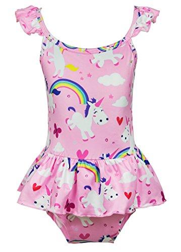 Wenge Girls Rainbow Unicorn Swimsuit Baby Unicorn Print Swimsuit-One Piece Swimwear Bathing Suit Bikinis (6T, Pink Unicorn)