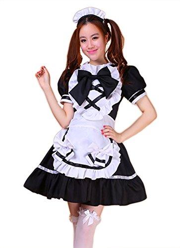 AvaCostume Women's Japanese Anime Maid Cosplay Costume Set, L, Black (Maid Marian Adult Costume)