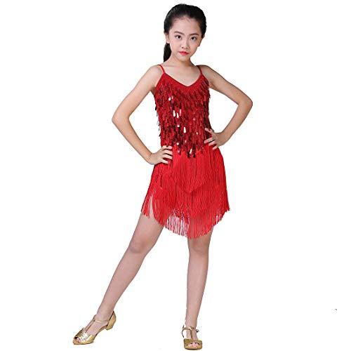 Latin Salsa Dancer Costumes - Girls Dancing Dresses, Sequin Tassel Skirt