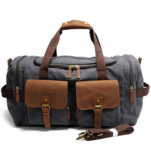 4379bd02667 Kemy s Mens Canvas Duffle Bag Oversized Overnight Bags for Men Leather  Duffel Weekender Travel Bags Canvas